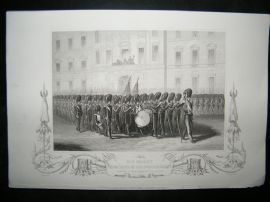 Crimea 1857 Antique Print. HM Taking Leave of Fusilier Guards
